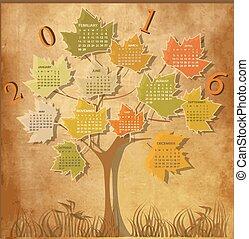 δέντρο , σχήμα , ημερολόγιο , για , 2016