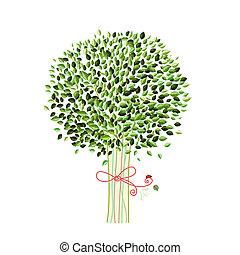 δέντρο , σχεδιάζω , απομονωμένος , δικό σου