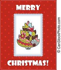 δέντρο , χριστουγεννιάτικη κάρτα