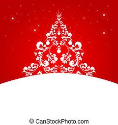 δέντρο , χριστουγεννιάτικη κάρτα , κόκκινο