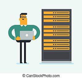 δίκτυο , εργαζόμενος , room., laptop , δίσκος , μηχανικόs