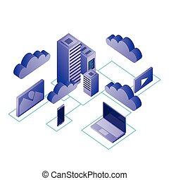 δίκτυο , κέντρο δεδομένων , απεικόνιση