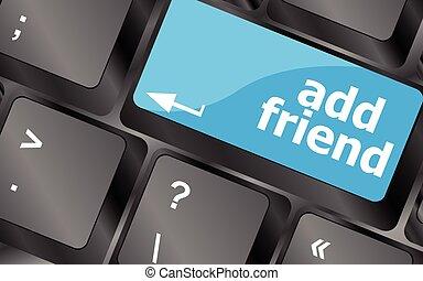δίκτυο , κλειδιά , concept., κοινωνικός , κουμπί , προσθέτω , μικροβιοφορέας , πληκτρολόγιο , κουμπί , φίλοs , εικόνα