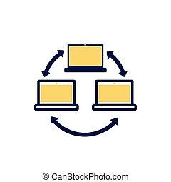 δίκτυο , υπολογιστές , κατ' ευθείαν γραμμήν , ρυθμός , χρώμα , laptops