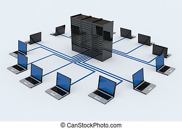 δίκτυο υπολογιστών , με , δίσκος