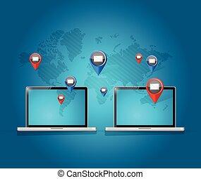 δίκτυο , email , laptop ηλεκτρονικός εγκέφαλος