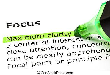 δίνω φώς , clarity', κάτω από , 'maximum, 'focus'