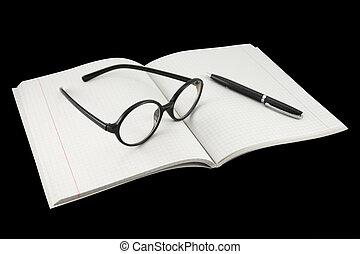 δίοπτρα , σημειωματάριο , κάτω από