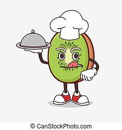 δίσκος , αρχιμάγειρας , γουρλίτικο ζώο , φρούτο , έτοιμος , υπηρετώ , ακτινίδιο , χαρακτήρας , τροφή