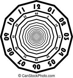δίσκοs τηλεφώνου , ρολόι , seconds , 2 , μαύρο , αναχωρώ , πρακτικά
