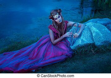 δαιμόνιο , γυναίκα , φόρεμα , βιολέττα