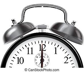 δακτυλίδι , τρομάζω , clock., μικροβιοφορέας , μαύρο , illustration.