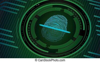 δακτυλικό αποτύπωμα , με , γενική ιδέα , πράσινο