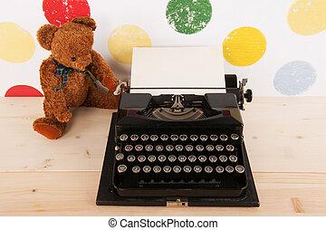 δακτυλογραφώ , συγγραφέαs , και , κρασί , αρκούδα