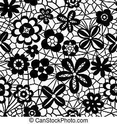 δαντέλλα , seamless, πρότυπο , με , λουλούδια