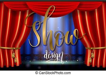 δείχνω , αποτέλεσμα , ρεαλιστικός , ευφυής , φωτισμός , curtai, προβολέας , κόκκινο