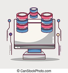 δεδομένα , δίσκος , τεχνολογία , δίκτυο , κέντρο