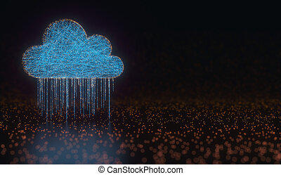 δεδομένα , σύνεφο , βροχή , χρήση υπολογιστή