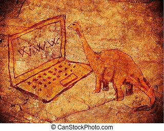 δεινόσαυρος , petroglyph , προϊστορικός , ηλεκτρονικός υπολογιστής