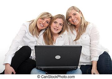 δεσποινάριο , χαμογελαστά , laptop