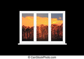 δεσπόζων , μοντέρνος , απομονωμένος , άλικος , παράθυρο , ηλιοβασίλεμα