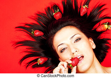 δηκτικός , γυναίκα , strawberrie