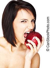 δηκτικός , κορίτσι , μήλο