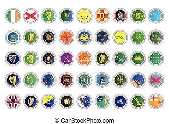 δημοκρατία , μικροβιοφορέας , icons., θέτω , flags., ιρλανδία