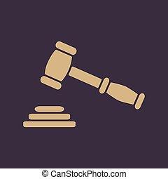 δημοπρασία , σύμβολο , δικαιοσύνη , δικαστήs , icon., σφυρί , ή