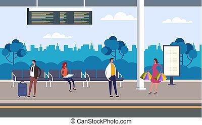 δημόσιο , γραφικός , εικόνα , διαμέρισμα , concept., bus., αδρανές μέλος ομάδας , μεταφορά , αναμονή , σχεδιάζω , χαρακτήρας , μικροβιοφορέας , άνθρωποι