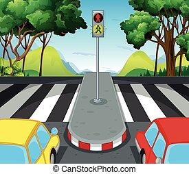 διάβαση , άμαξα αυτοκίνητο , σκηνή , δρόμοs , zebra