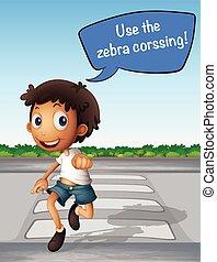 διάβαση , αγόρι , zebra, δρόμοs , χρησιμοποιώνταs