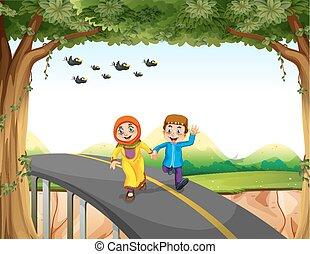 διάβαση γέφυρα , ζευγάρι , μουσελίνη