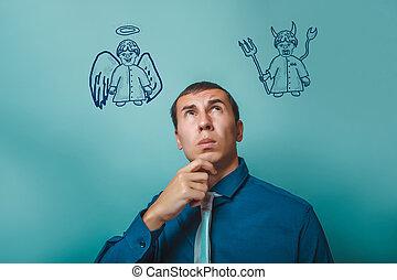 διάβολοs , άγγελος , σκεπτόμενος , δαίμονας , πάνω , ατενίζω , infographics, επιχειρηματίας , άντραs