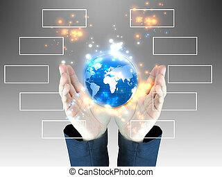 διάγραμμα , επιχειρηματίας , κράτημα , κόσμοs