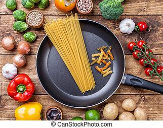 διάφορος , λαχανικά , ανταμοιβή , και , βοτάνι , με , ένα , τηγάνι