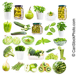 διάφορος , πράσινο , τροφή , απομονωμένος , αναμμένος αγαθός , φόντο