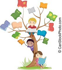 διαβάζω , stickman, μικρόκοσμος , δέντρο , βιβλίο