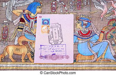 διαβατήριο , αίγυπτος , πάπυρος , αεροδρόμιο , βίζα , φόντο...