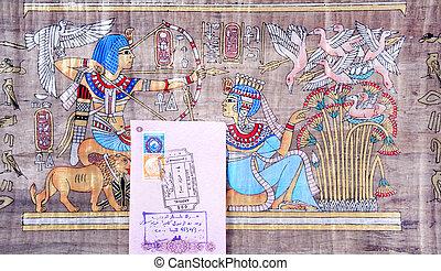 διαβατήριο, αίγυπτος, πάπυρος, αεροδρόμιο, βίζα, φόντο,...