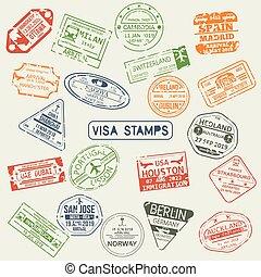 διαβατήριο , αποτύπωμα , θέτω , απομονωμένος , βίζα