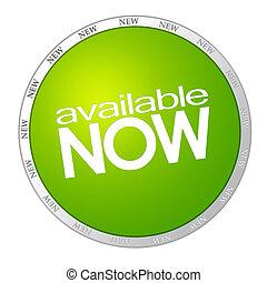 διαθέσιμος , αυτοκόλλητη ετικέτα , τώρα , πράσινο
