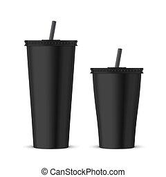 διαθέσιμος , μαύρο , κύπελο , πλαστικός , mockup