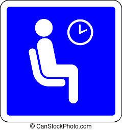 διαθέσιμος , μπλε , αίθουσα αναμονής , σήμα