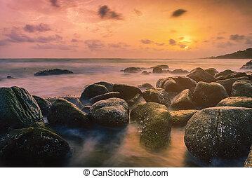 διακεκριμένη θέση. , βράχος , ηλιοβασίλεμα , σιάμ , χαράζω , ακτή