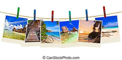 διακοπές , παραλία , φωτογραφία , επάνω , clothespins