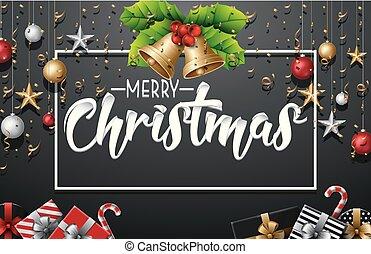 διακοπές χριστουγέννων διακόσμηση , με , στοιχεία , και , χρυσός , κομφετί , επάνω , μαύρο φόντο