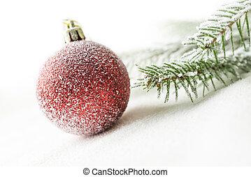 διακοπές χριστουγέννων μπάλα , και , παράρτημα , επάνω , χιόνι