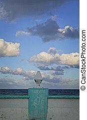 διακοσμητικός , στήλη , θάλασσα , τοίχοs , και , θαμπάδα