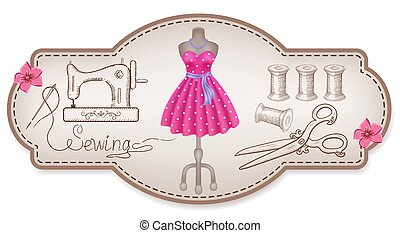 διακοσμητικός , φόρεμα , κορνίζα , ράψιμο , χέρι , συνεργείο...